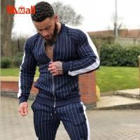 New men fashion Plaid tracksuit casual 2 Pieces Sets Men's jacket+pants high quality men's sportswear sports suit 2021