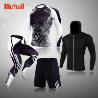 4-Piece Set New Men Clothing Sportswear Gym Fitness Compression Suits Running Set Sport Outdoor Jogging Quick Dry Tight