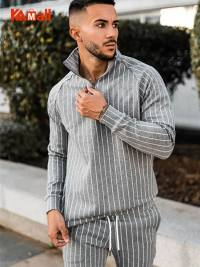 2021 New Spring Autumn Stripe Leisure Sports Suit Men Fitness Running Long Sleeve Hoodie Slim Trousers 2 Pieces Sets