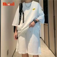 Privathinker 2021 Fashion Men Suit Sportswear Waffle Cotton Short Sleeve T-shirt Korean Style Loose Shorts Male Two Piece Set