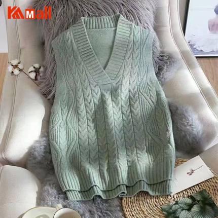 Knitting Vest women Solid Short Loose Trendy Korean Style Sleeveless Knitted V-Neck All-match Female Coats Leisure Outwear