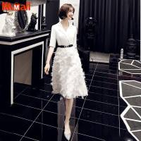 2021 Cocktail Dress Summer V-Neck Short Sleeve Blue Lace Women Party Fashion Designer Short Cocktail Gowns LF237