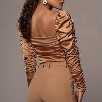 FSDA 2021 Fashion Satin Crop Blouse Shirt Women Ruched Square Neck Casual Autumn Long Sleeve Elegant Sexy Top Shirts