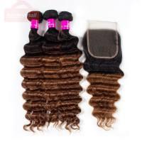 Ombre Hair T1B/30 Brazilian Loose Deep Wave Bundles with Closure