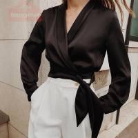Forefair Satin Wrap Blouse Black Cropped Tops Ladies Lapel Collar V Neck Solid Elegant Short Vintage Women Shirts