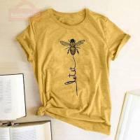 Women T-shirt Bee Print Simple Short Sleeve T Shirts Tops Summer 2021