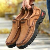 Men Hiking Shoes Comfortable Outdoor Sneakers Men Breathable Hiking Sports Boots First Layer Cowhide Leather Big Size 38-50