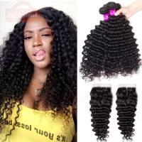 Indian Virgin Hair Deep Wave 4 Bundles With Closure,Tinashe Hair 4 Bundles Human Hair Bundles With Closure Deep Wave Curly