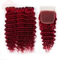 Red Human Hair Brazilian Deep Wave Bundles with Closure