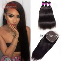 7×7 Lace Closure with Bundles Brazilian Straight Hair