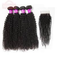 Brazilian Kinky Curly Human Hair 4 Bundles With Closure