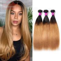 Best Quality Straight Hair Color T1b/27 Honey Blonde 3/4 Bundles Virgin Brazilian Straight Hair